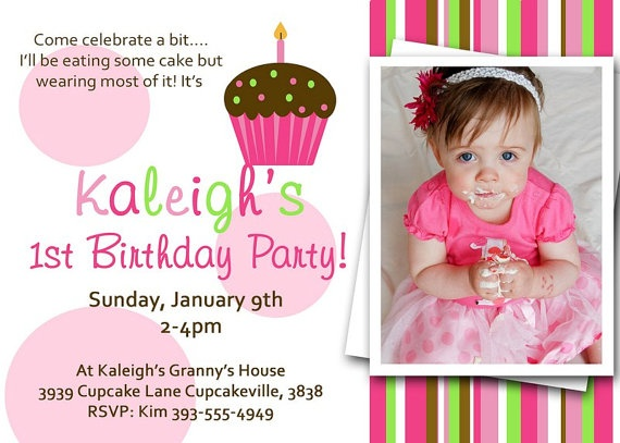 LITTLE CUPCAKE Invitation with PHOTO You by littlebirdieprints