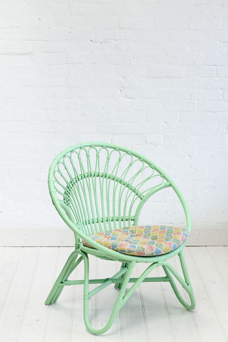 Rattan Round Chair Pastel Green #kids #decor