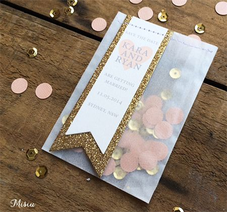 Peach & Gold Save the Date  Confetti Bags