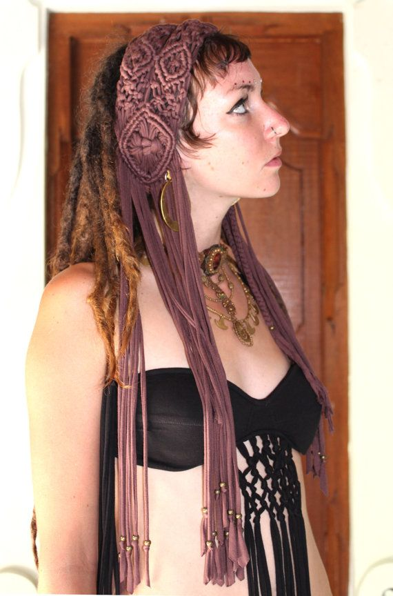 SALE Macrame headband by KayoAnimeClothing on Etsy