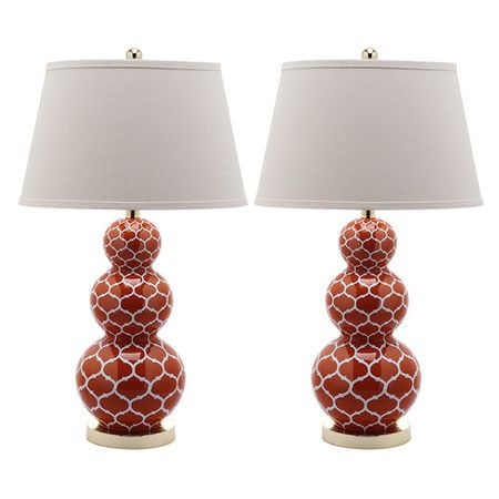Set of two ceramic gourd lamps with a trellis motif.        Product: Set of 2 lampsConstruction Material: Ceramic and ...