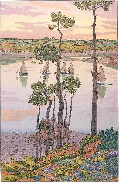 Le beau pays de Bretagne - Bords du Trieux au crépuscule. Henri Riviere