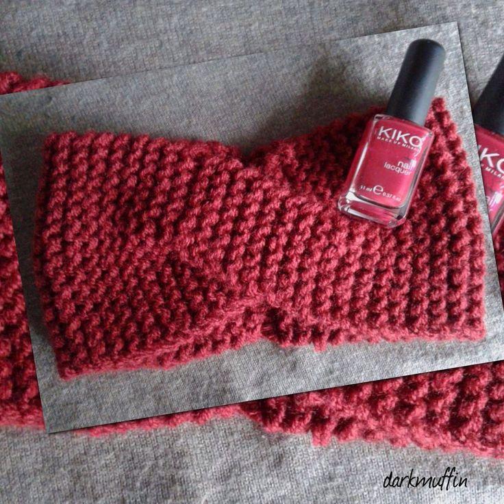 Fascia Capelli Fatto A Mano Maglia Bordeaux Burgundy Cappello Lana Nero Marsala Incrocio : Cappelli, berretti di darkmuffin