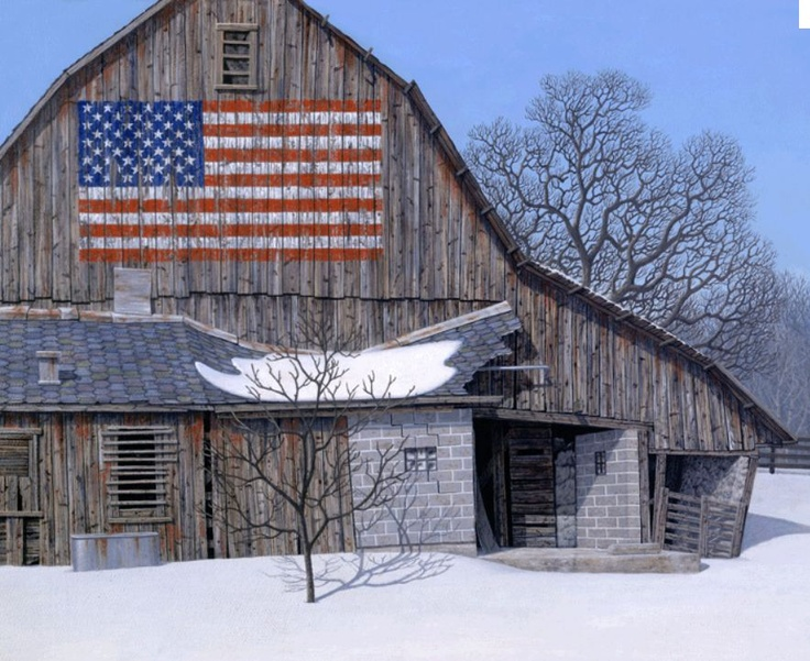 Lovely Old Barn With American Flag Barns Pinterest