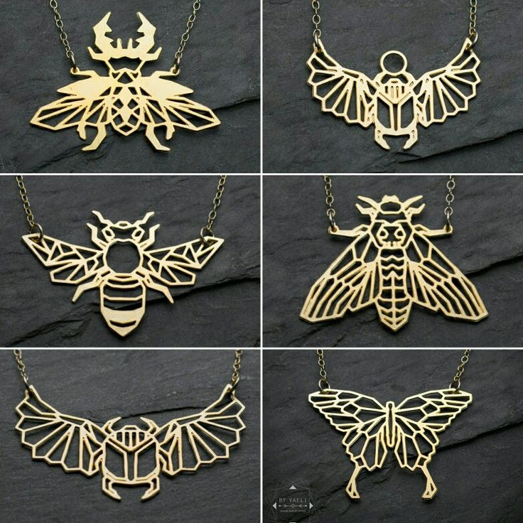 Geometric gold origami bugs necklaces from the new collection @ByYaeli store on Etsy!!! www.byyaeli.Etsy.com  #byyaeli #geometric #geometricjewelry #origaminecklace #bugs #origami #geometricbeetle #geometricnecklace #butterflynecklace #beenecklace #etsyshop #etsyjewelry