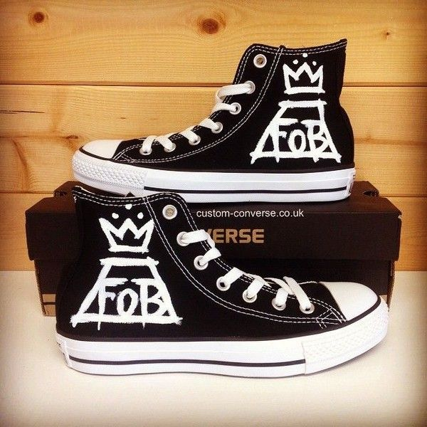 """Custom Converse on Instagram: """"Fall Out Boy Converse #converse... ❤ liked on Polyvore featuring accessories and shoes"""