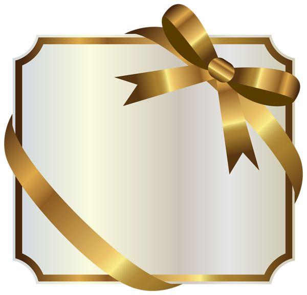 Белая этикетка с золотым бантиком PNG клипарт изображения