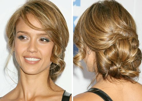 Updo - Messy: Hair Colors, Bridesmaid Hair, Wedding Updo, Messy Buns, Hair Style, Jessica Alba, Wedding Hairstyles, Side Buns, Low Buns