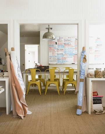 Office inspiration.  Windsor Smith.: Interior, Dining Room, Workspace, Yellow Chairs, Smith S Office, Tolix Chairs