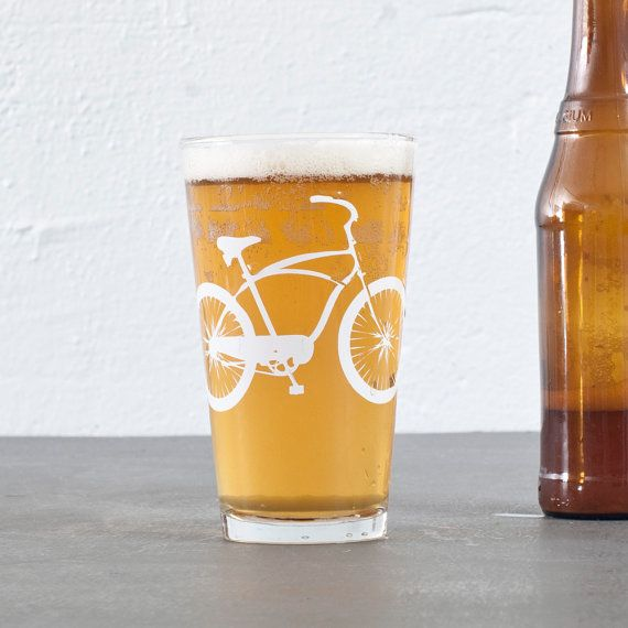 Cruiser bike  bicycle pint glasses by vital on Etsy