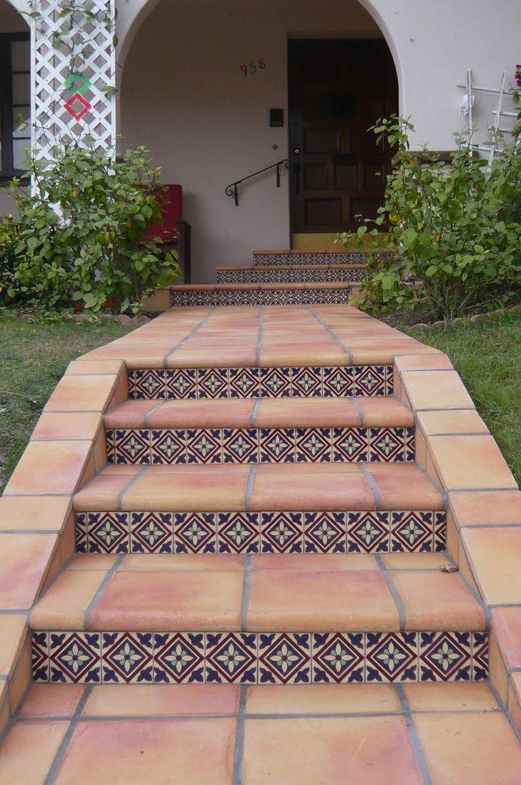 "12"" hand-crafted saltillo tiles with custom Malibu Tile"