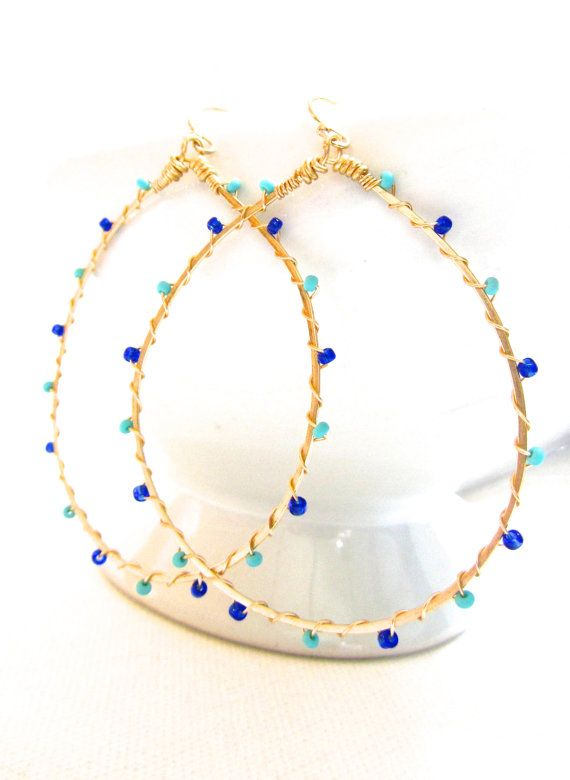 Fun hoops! I love the combination of Turquoise and Cobalt Blue!