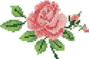 10051 Rose cross stitch machine embroidery design