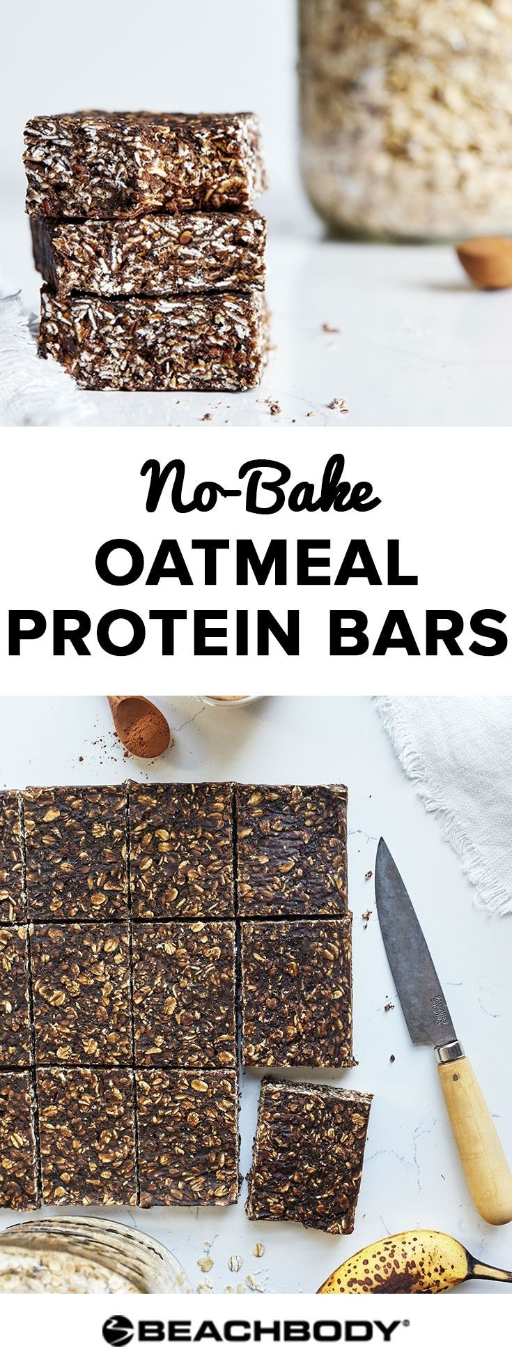 These delicious and easy no-bake oatmeal bars are great for a high protein snack, or breakfast! Shakeology recipes // best breakfast ideas // healthy snack recipes // 21 Day Fix // Shakeology recipe// Beachbody // Beachbody Blog