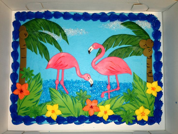 Tropical Flamingo Sheet Cake Decorated With Buttercream