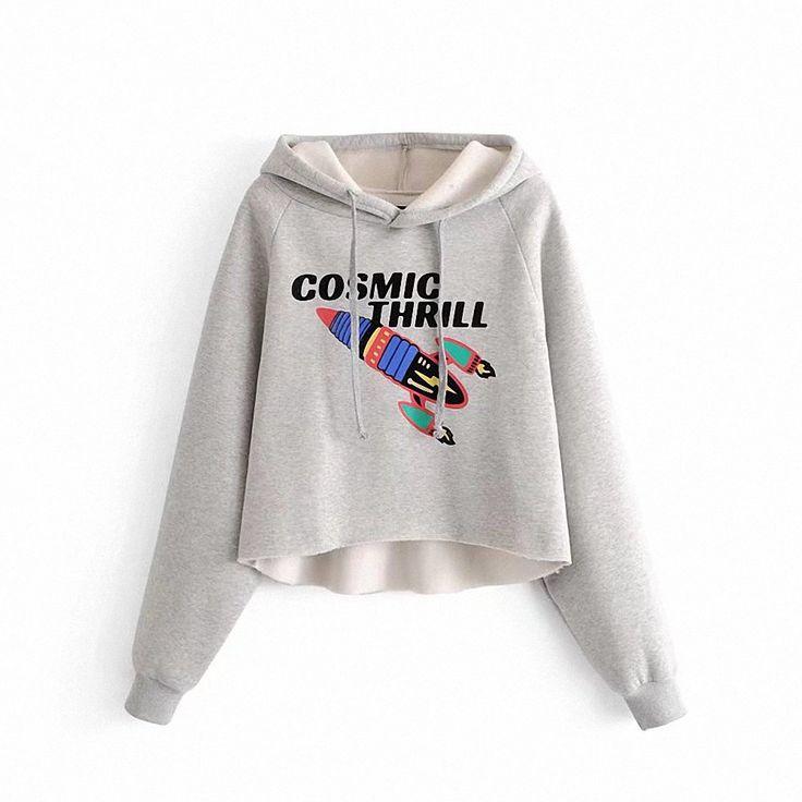 Women'S Rocket Word Printed Hooded Sweatshirts - LIGHT GRAY L