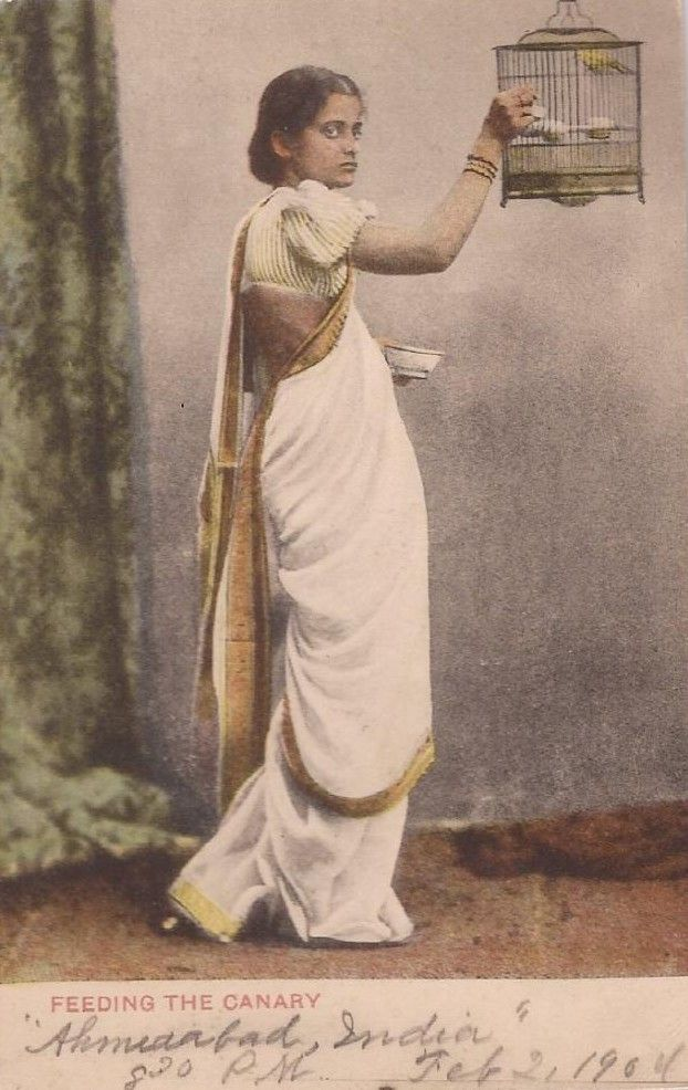 Subtle Colours on an Early Post Card saree image