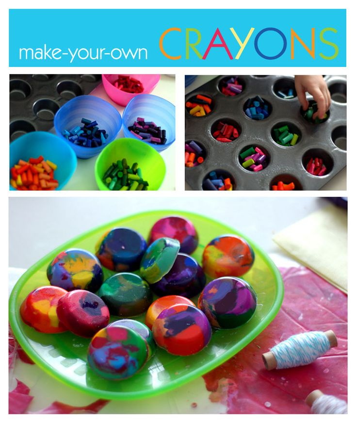 chop up old crayons into little pieces. Using a mini-muffin pan, fill each mold with asst. colors of crayon pieces.  Bake at 250 degrees for about 10-15 mins until crayons melt. Place a sheet pan under the crayons to catch any drips. Once they are cool, remove and smooth edges.