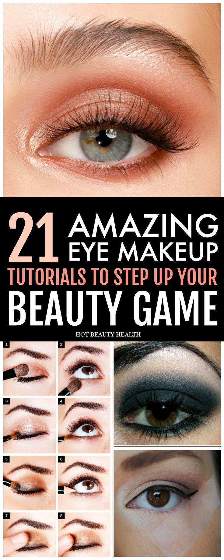 21 easy dramatic eye makeup ideas for beginners. Amazing smokey and colorful eye looks that are next level. You can find a tutorial for blue, green, hazel, or brown eyes; hooded eyes, cut crease, and more. Perfect for prom, wedding or an evening look. Click pin for step by step and video tutorials! Hot Beauty Health #eyemakeup #makeup #makeuptutorials #eyemakeuptutorials