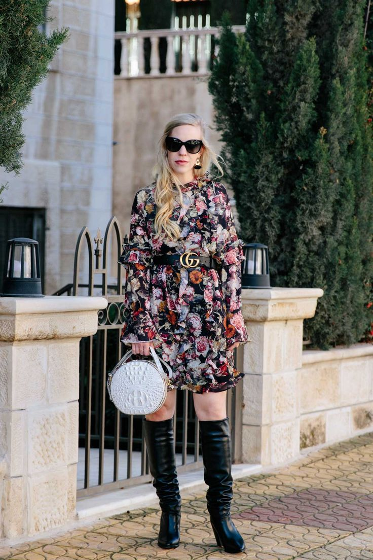 Floral Ruffle Dress & Slouchy Knee Boots: floral dress with Gucci Marmont belt, slouchy leather knee boots, and @brahminhandbags Lane circle crossbody bag