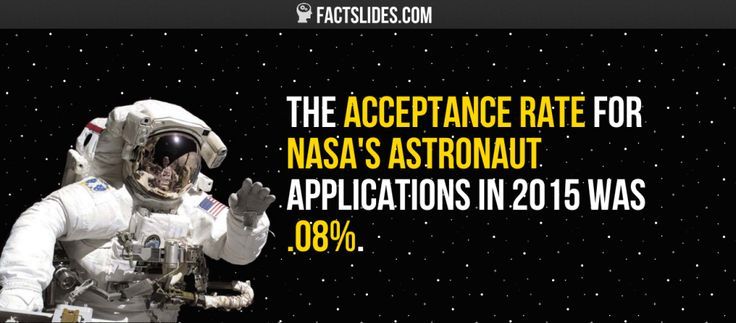 The acceptance rate for NASA's astronaut applications in 2015 was .08%.