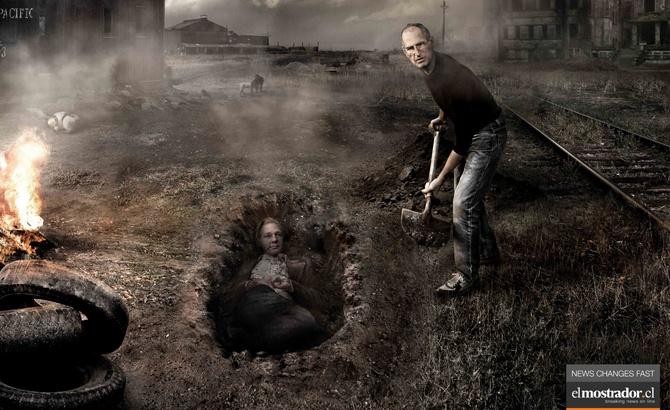 """Las noticias mueren demasiado jóvenes. Campaña de publicidad para """"El mostrador"""" diario on-line de Chile."""
