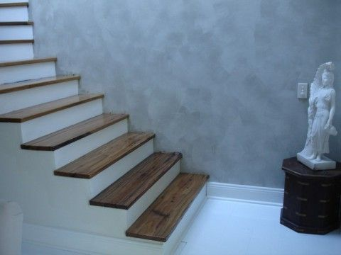Stair Ideas - Adding wood treads to existing concrete stairs (indoor)