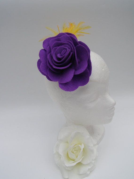 Purple Felt Rose with Yellow Feathers on Crocodile by SiogDesign, €12.50