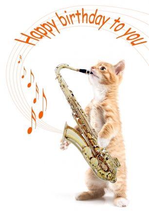 Verjaardagskaart poes met saxofoon speelt Happy birthday to you