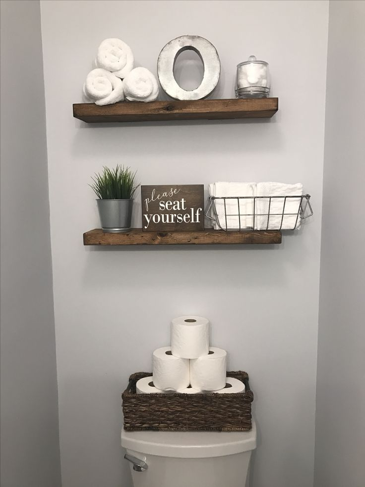 Half Bathroom Decor Wood Shelves And Toilet Paper In A Basket Farmhouse Bathroom Remodel Idea Half Bathroom Decor Beautiful Bathroom Designs Half Bathroom