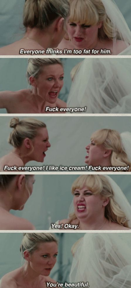 Bachelorette: When Kirsten Dunst's character gives Rebel Wilson's character a confidence boost on her wedding day. | 29 TV And Film Moments That Helped People Love Their Bodies