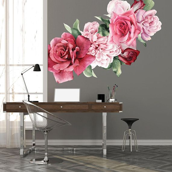 Pink Roses Wall Decals Made From Peel And Stick Removable