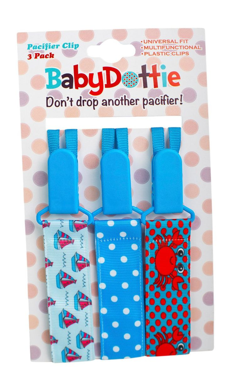 Premium Quality Pacifier Clip BOYS 3PACK by Baby Dottie - Pacifier Holder Clip, Clip for Soothie, Baby Bibs, Teething Rings - Excellent Baby Shower Gift