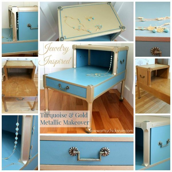 Turquoise Chalk Paint & Gold Metallic Makeover {jewelry inspired}