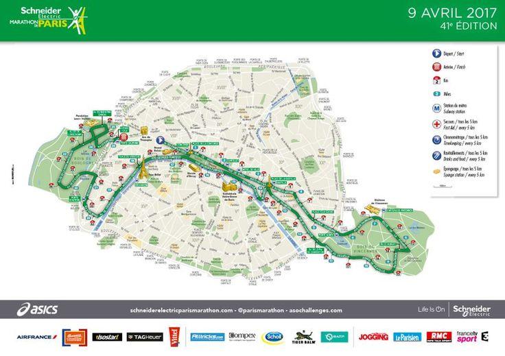 Le parcours du Marathon de Paris.  - 2017