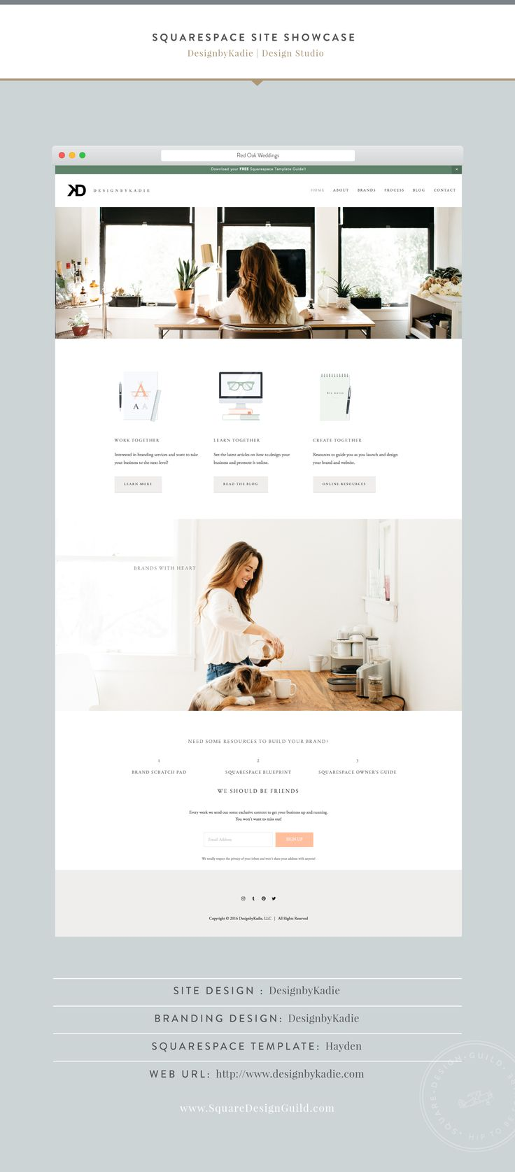 Squarespace Design Guild | Site Showcase - DesignbyKadie Boutique Graphic Design Studio in Dallas TX
