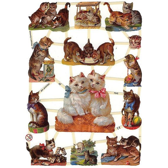 Victorian Cats Paper Scraps Made In Germany  7245