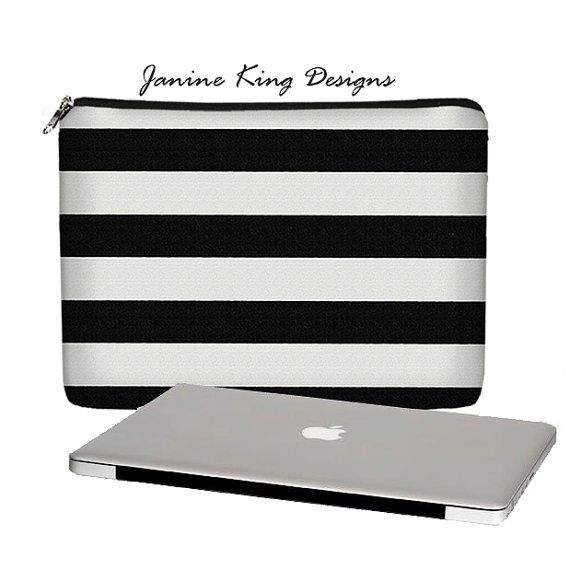 "SUPER SALE 13"" Laptop Sleeve MacBook Pro 13 inch Woman's Laptop Case Padded Mac Laptop Cover Womens Travel Bag  Black White  Stripe"