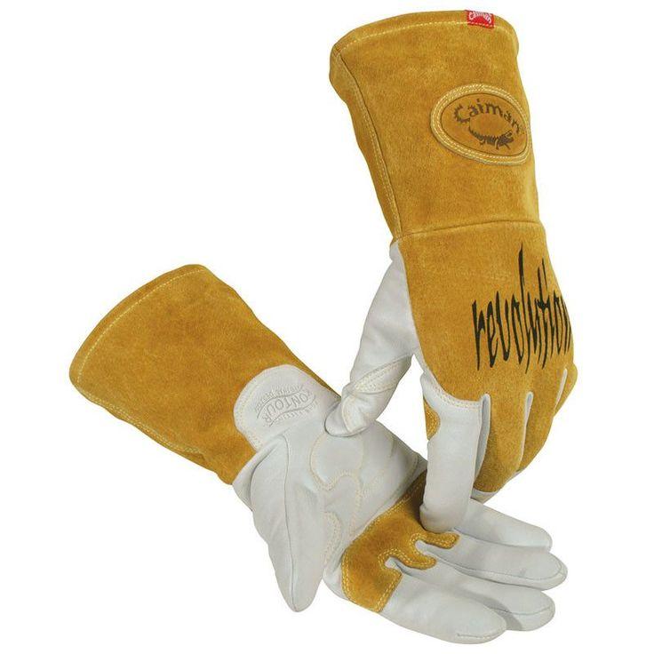 White Goatskin Tig/Plasma Welding Gloves with Long Cuff - 1868 - Caiman