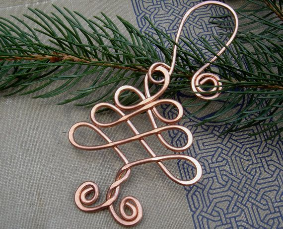 Celtic Tree Christmas Ornament - Holiday Ornament - Copper Wire - Handmade Gift. $15.50, via Etsy.
