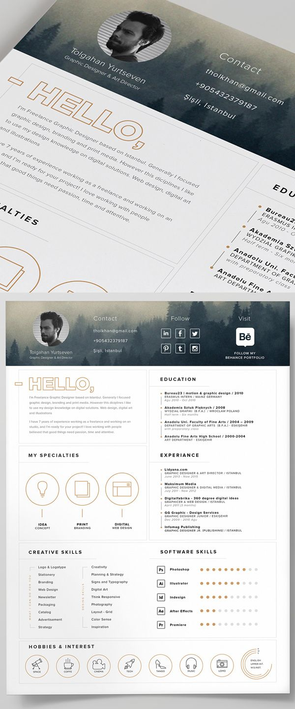 Free Resume Template and Icons PSD 206