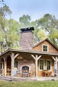 Fireplace on front porch log home