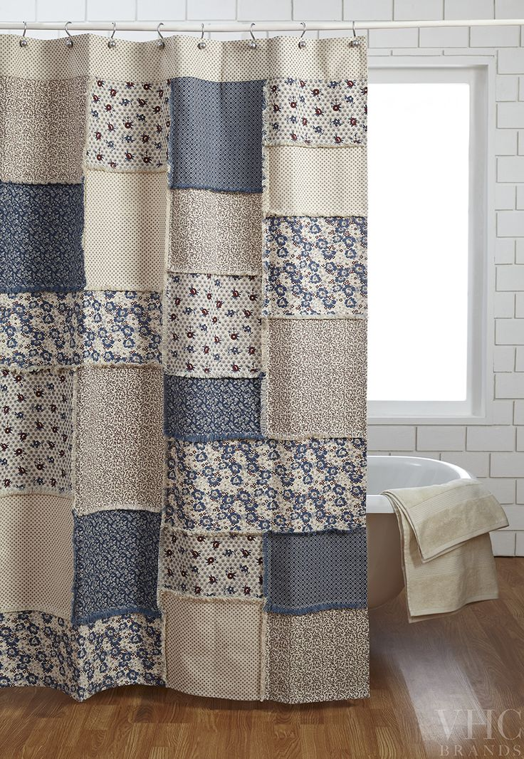 The Millie Shower Curtain. Patchwork feed sack prints with a distress wash to give that lovely vintage look and feel that is so very popular! Find the whole Millie line on www.vhcbrands.com