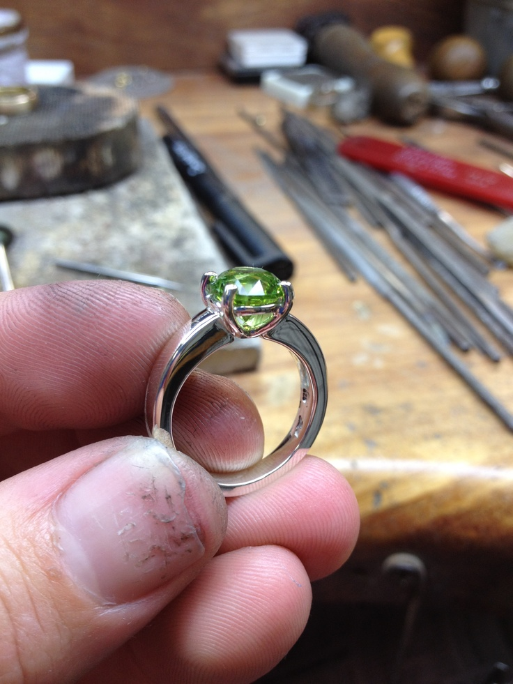 Handmade silver and peridot ring by me :)