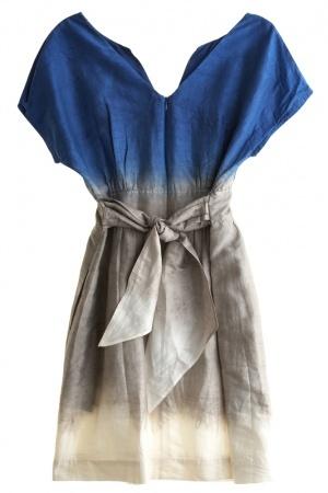 blue/grey dyed linen dress