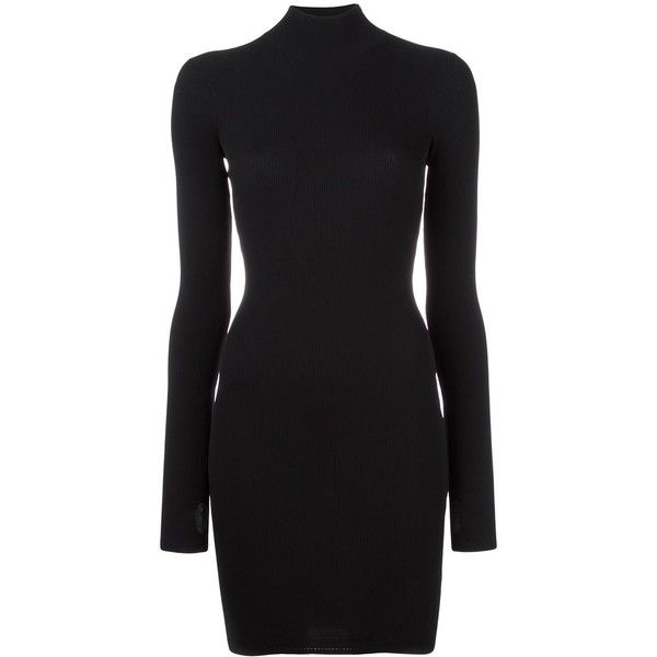 Yeezy Season 3 high neck mini dress (1,325 CAD) ❤ liked on Polyvore featuring dresses, black, high neck short dresses, adidas originals, high neck dress, mini dress and short dresses