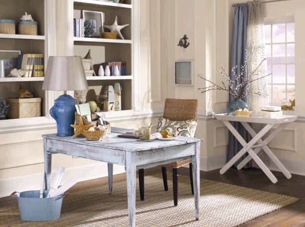 Coastal home office: Ideas, Paintings Colors, Beaches Inspiration, Sherwin Williams, Beaches Houses, Homes, Accessible Beige, Home Offices, Rooms