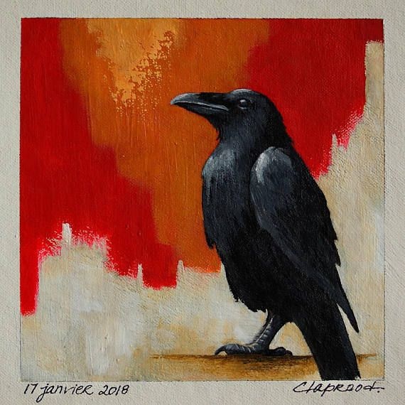 Raven painting black bird painting crow image small red &