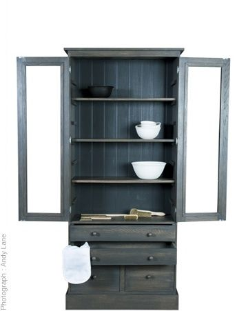 Solid oak cupboard finished in charcoal or white wash. Hand crafted to order.