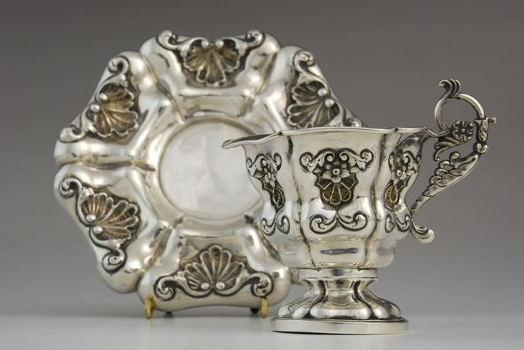 Antique silver collectors cup & saucer in Biedermeier style, Vienna